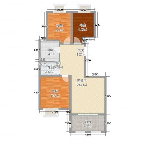 金湖国际3室2厅1卫1厨107.00㎡户型图
