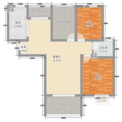 金湖国际2室2厅1卫1厨106.00㎡户型图