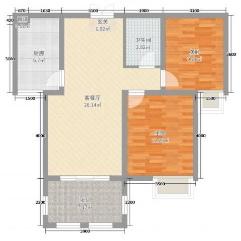 金湖国际2室2厅1卫1厨87.00㎡户型图