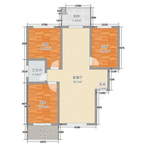 升龙苑3室2厅1卫1厨118.00㎡户型图