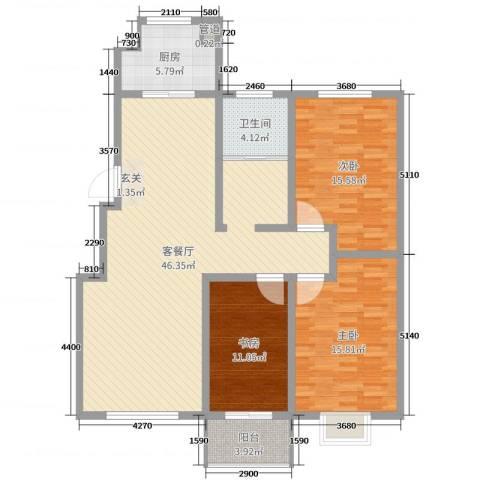 升龙苑3室2厅1卫1厨127.00㎡户型图
