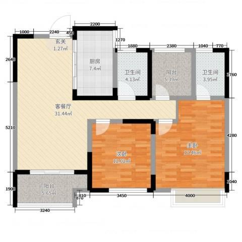 启星世纪广场2室2厅2卫1厨109.00㎡户型图