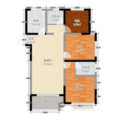 启星世纪广场3室2厅2卫1厨110.00㎡户型图