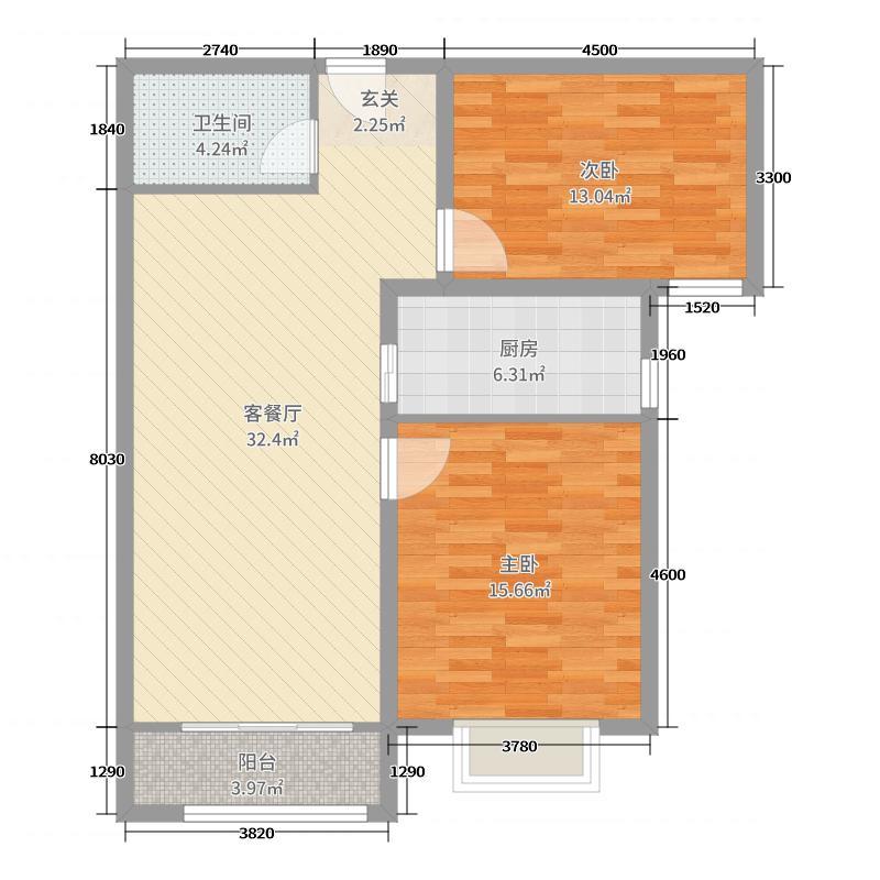 中海国际社区94.00㎡C4地块A户型2室2厅1卫1厨
