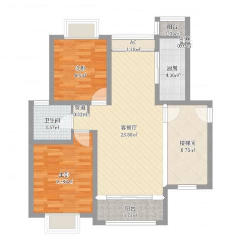 上海花园别墅2室2厅1卫1厨85.00㎡户型图