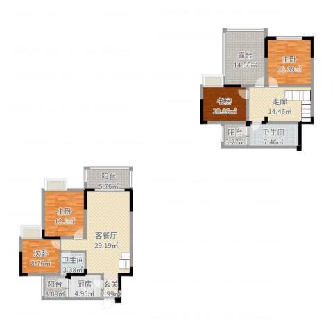 阳光清华4室2厅2卫1厨163.00㎡户型图