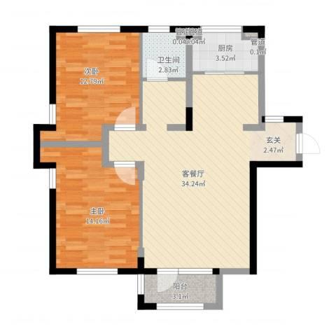唯美品格2室2厅1卫1厨101.00㎡户型图