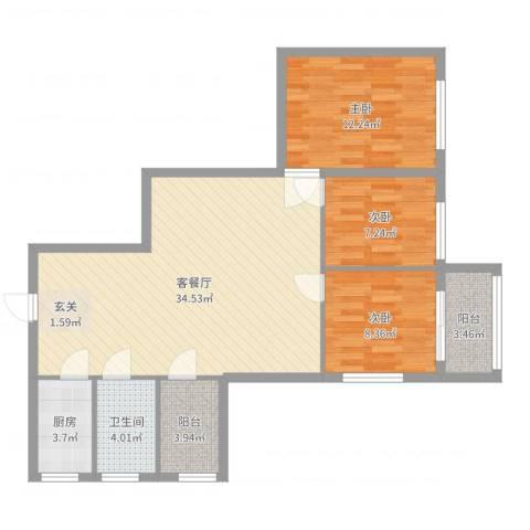 保利红棉花园3室2厅1卫1厨97.00㎡户型图
