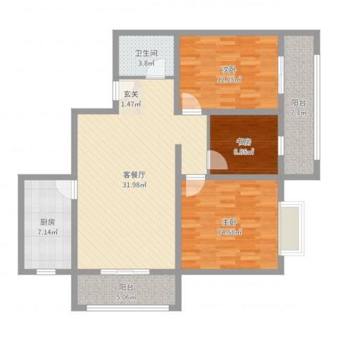 翡翠江南3室2厅1卫1厨111.00㎡户型图
