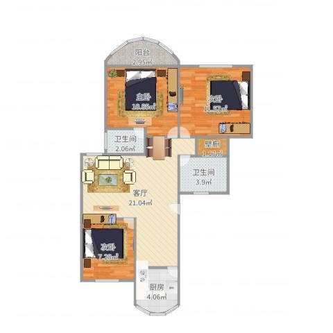 东方明珠大宁公寓3室1厅2卫1厨81.00㎡户型图