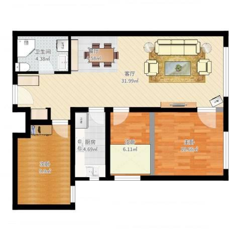 鸿坤・理想湾3室1厅1卫1厨85.00㎡户型图