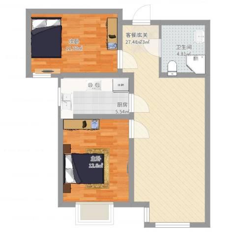 首创国际半岛2室2厅1卫1厨89.00㎡户型图