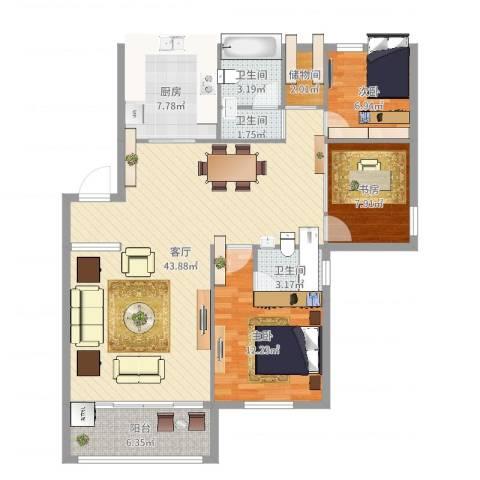 塘西新村3室1厅3卫1厨119.00㎡户型图