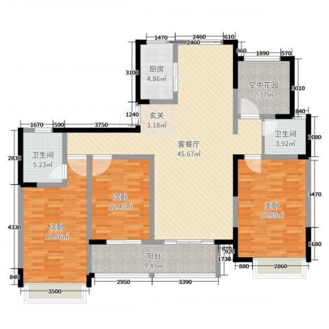 启星世纪广场3室2厅2卫1厨156.00㎡户型图