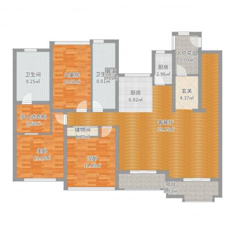 万科琥珀臻园3室2厅2卫1厨178.00㎡户型图
