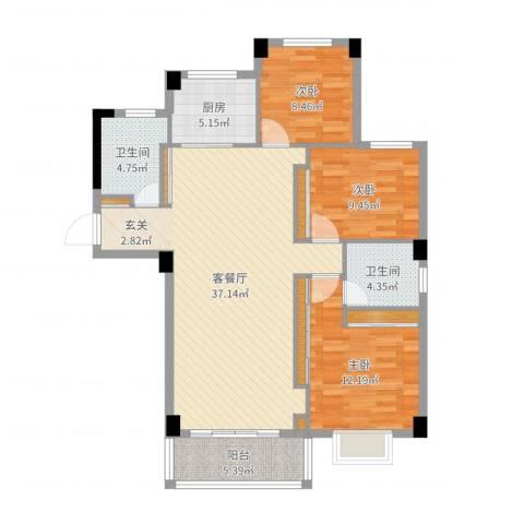 昌润・嘉和苑3室2厅2卫1厨112.00㎡户型图