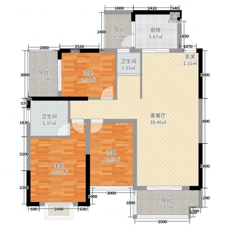 大河映山123.61㎡户型3室3厅2卫1厨