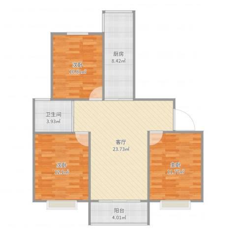高行绿洲3室1厅1卫1厨93.00㎡户型图