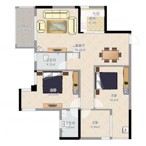 坤龙西城国阙3室2厅2卫1厨134.00㎡户型图