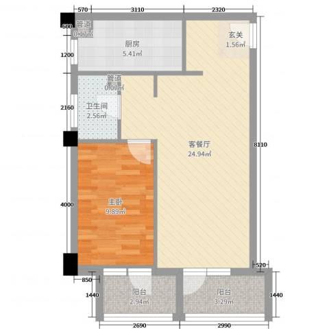 澳景蓝湾1室2厅1卫1厨60.00㎡户型图