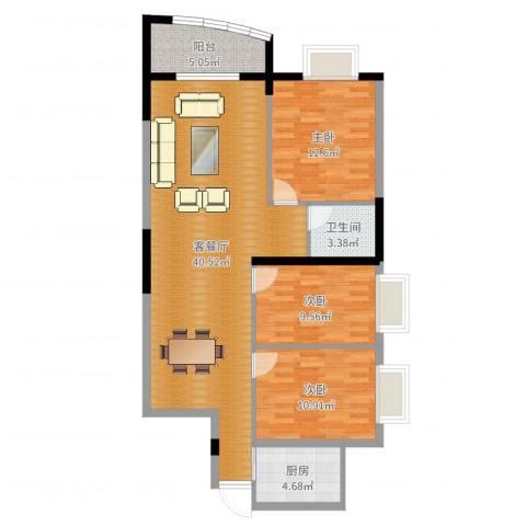 鑫东来中商广场3室2厅1卫1厨108.00㎡户型图