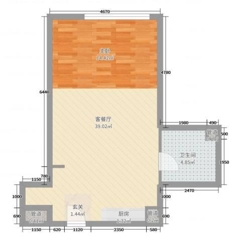 澳景蓝湾2厅1卫0厨61.00㎡户型图