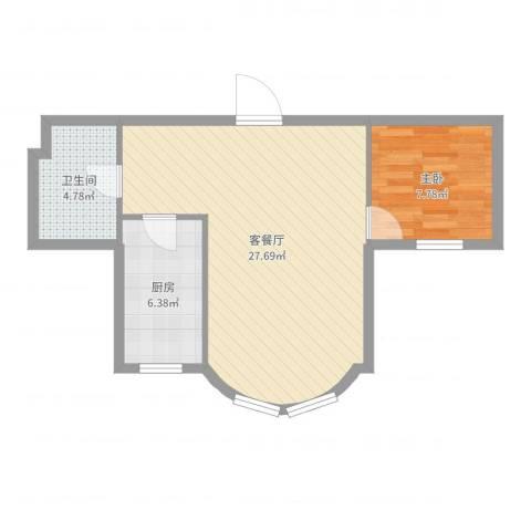 望京花园东区1室2厅1卫1厨46.64㎡户型图