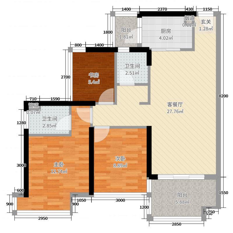 云星钱隆首府90.73㎡5号楼1单元05户型3室3厅2卫1厨