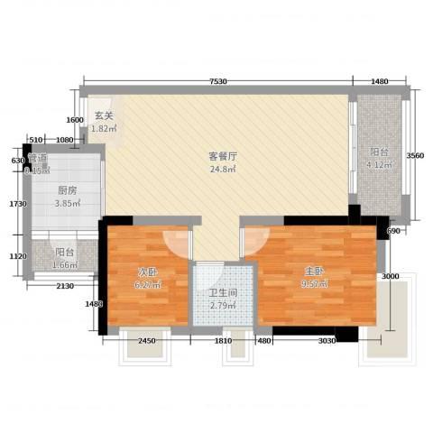 优越香格里2室2厅1卫1厨76.00㎡户型图