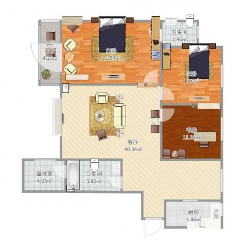 天和新府3室3厅2卫1厨134.00㎡户型图
