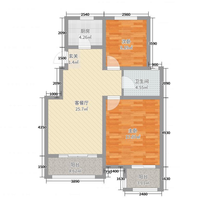 亿路发世家御园85.63㎡39#-50#A1户型2室2厅1卫1厨