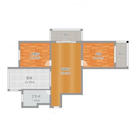 中江国际花苑2室2厅1卫1厨116.00㎡户型图
