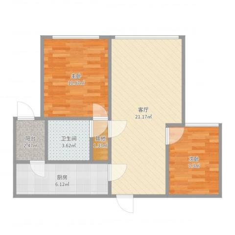 伯爵大地2室1厅1卫1厨66.00㎡户型图