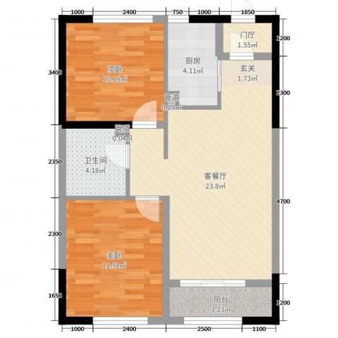 中海紫御华府2室2厅1卫1厨90.00㎡户型图