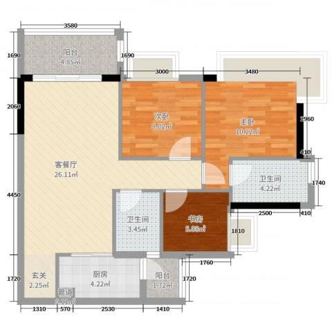 汇泰锦城3室2厅2卫1厨92.00㎡户型图