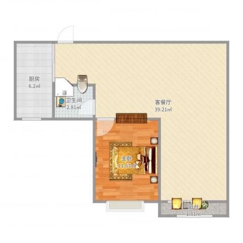 浦发绿城1960弄小区1室2厅1卫1厨77.00㎡户型图