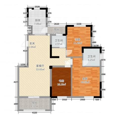 德惠尚书房3室2厅2卫1厨120.00㎡户型图