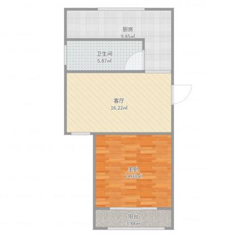 浦发绿城1960弄小区1室1厅1卫1厨62.00㎡户型图