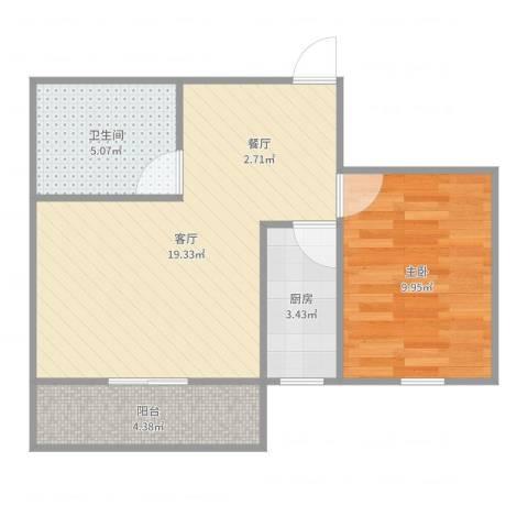 浦发绿城1960弄小区1室1厅1卫1厨53.00㎡户型图