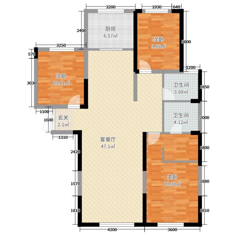 五矿柴达木广场住宅二期147.25㎡B1户型3室3厅2卫1厨