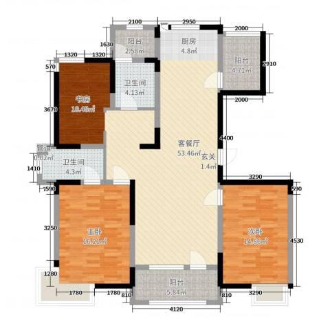 彩凤山城观邸2室2厅2卫0厨133.00㎡户型图