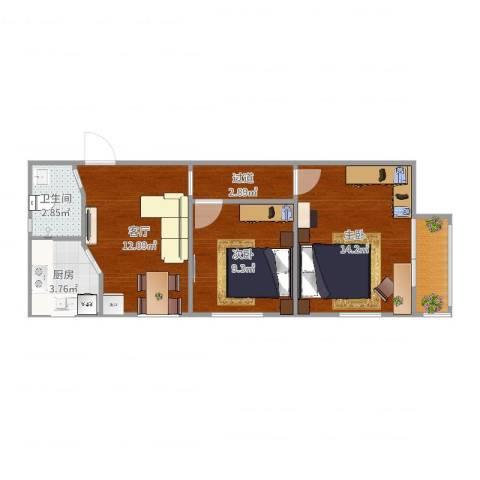 裕中西里2室1厅1卫1厨60.00㎡户型图