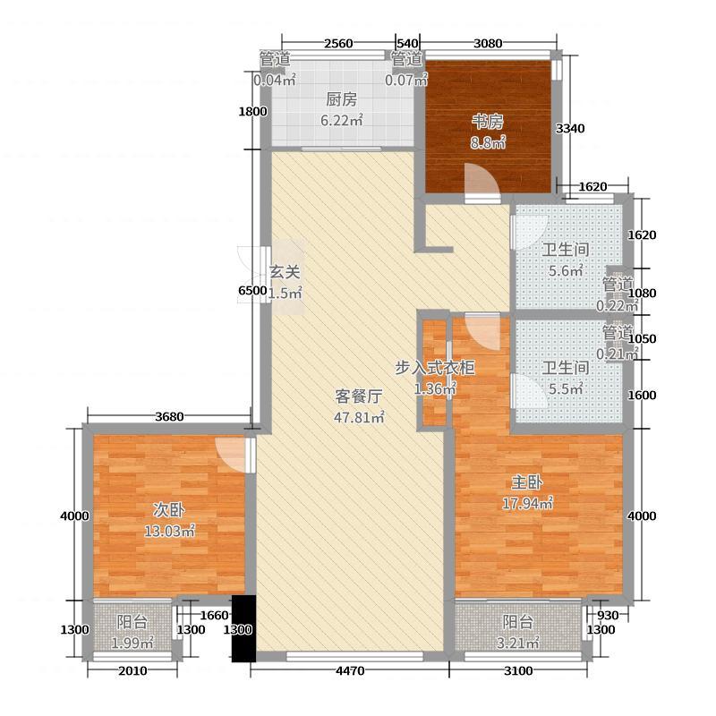 淄博绿城・百合花园140.00㎡诚园1-3、8号楼B3户型3室3厅2卫1厨