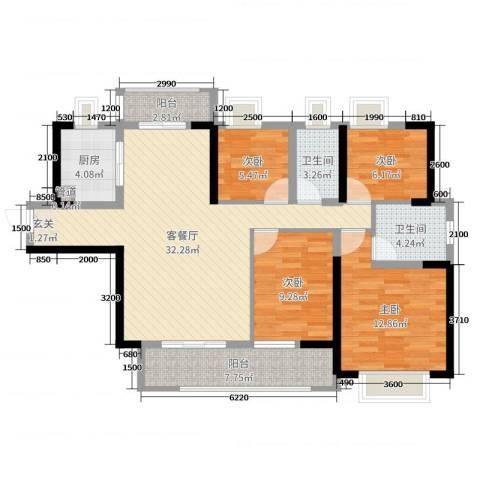 壹号公馆4室2厅2卫1厨119.00㎡户型图