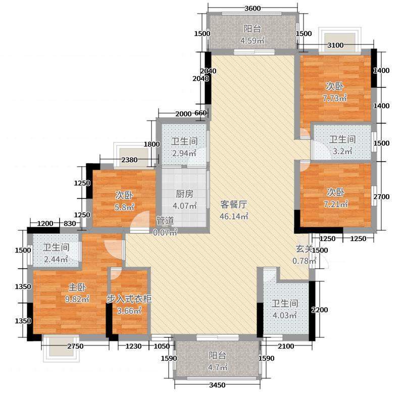 六都华府140.50㎡A栋03-04户型5室5厅3卫1厨