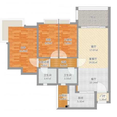 新月明珠花园4室2厅2卫1厨104.00㎡户型图