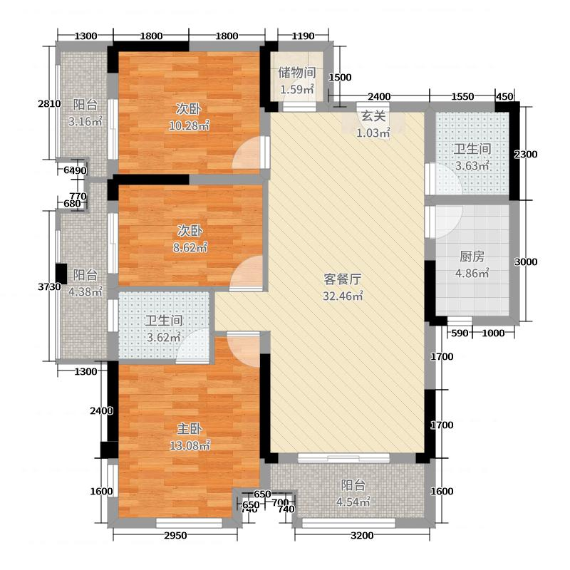 阳光100凤凰街117.04㎡H户型3室3厅2卫1厨
