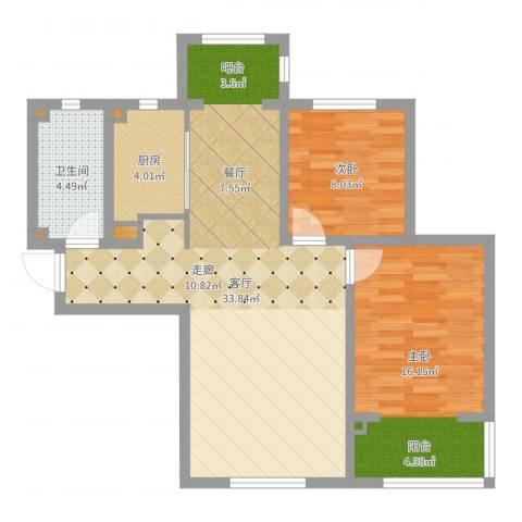 美域新城2室1厅1卫1厨84.00㎡户型图