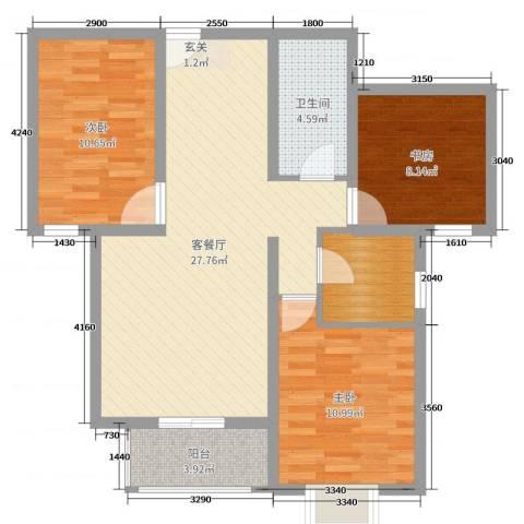 和平嘉园・Ⅲ期3室2厅1卫0厨110.00㎡户型图