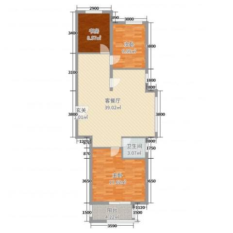 和平嘉园・Ⅲ期3室2厅1卫0厨111.00㎡户型图